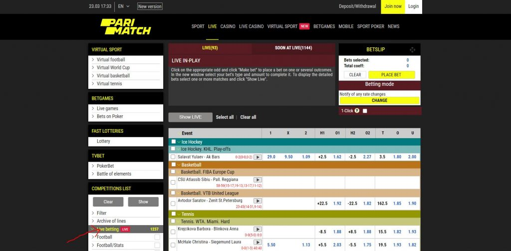 How to start with Live Betting